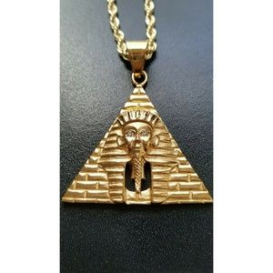 "Other - 14k Gold Pyramid Pharaoh Pendant 24"" Rope Chain"